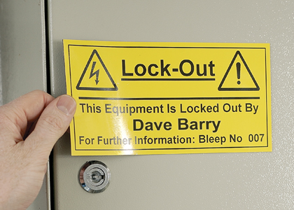 Equipment Lock Out Label