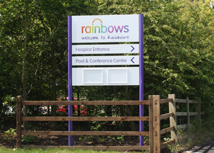 Rainbows Direction Entrance Post Sign